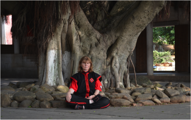 Sensei Mariani meditating in China at Shaolin Temple