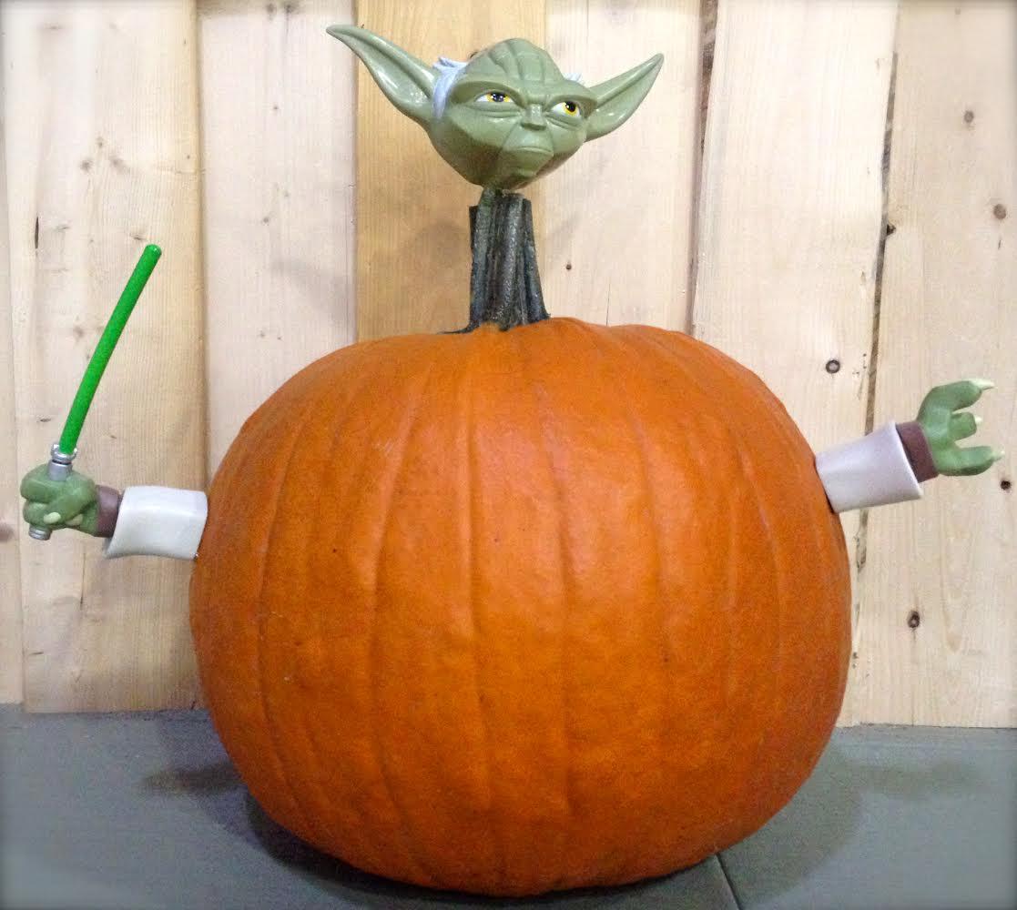 yoda pumpkin happy halloween